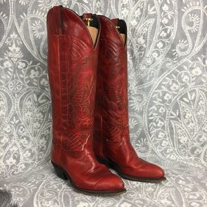 Vintage Durango Red Tall Shaft Cowboy Boots Size 7